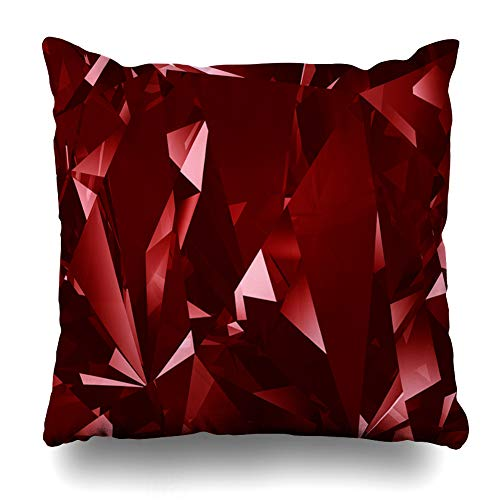 Ahawoso Throw Pillow Covers Blood Blue Gem Red Crystal Facet Abstract Ruby Stone Diamond Jewel Cut Black Precious Home Decor Pillow Case Square Size 18 x 18 Inches Zippered Pillowcase Blood Red Ruby Gem