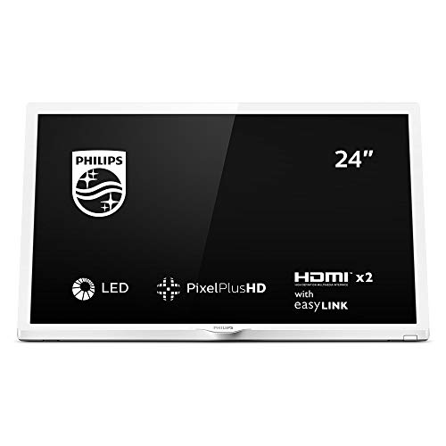 Philips 24PHS4354/12 Televisor 24 pulgadas, 60 cm, LED TV (Pixel Plus HD, Sonido envolvente, HDMI, USB), color Blanco