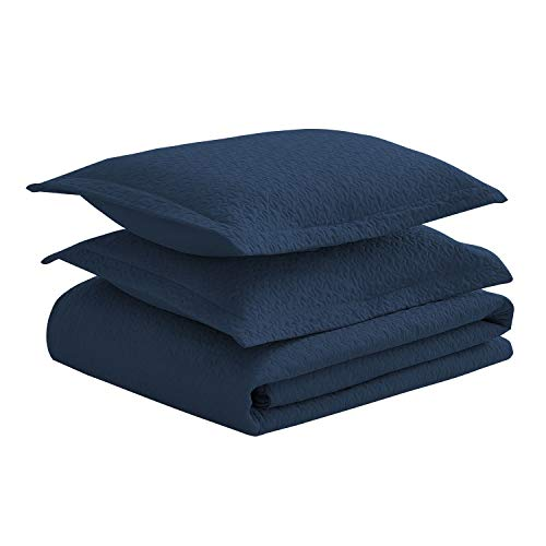 Luxe Bedding Solid Color Lightweight Oversize Cotton Filled Stitch 3-piece Jigsaw Bedspread Coverlet Set (King/California King, Navy Blue)