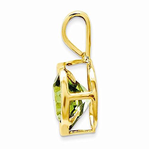 14k Yellow Gold 6mm Peridot bezel pendant. Gem Wt- 0.9ct (Yellow Gold 14k Pendant Peridot)