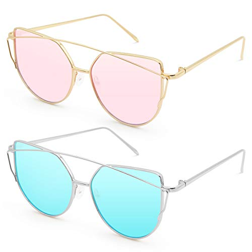 Livhò Sunglasses for Women, Cat Eye Mirrored Flat Lenses Metal Frame Sunglasses UV400 (GOLD PINK+SILVER SKY BLUE) -