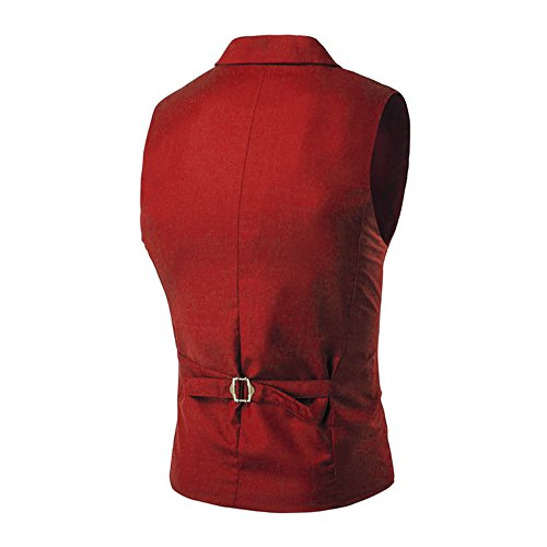 MAGE MALE Men's Suit Vest Designer Solid V-Neck Double Breasted Lapel Slim Fit Business Dress Waistcoat (XX-Large, Red) by MAGE MALE (Image #2)'