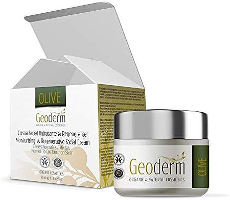 Crema Hidratante Facial Mujer – Crema Ecológica Regeneradora Con Aceite de Oliva + Vitamina E + Aceite de Almendras - Piel seca y Sensible - Crema Contorno Ojos - Antiarrugas –100% Natural - 50 ml