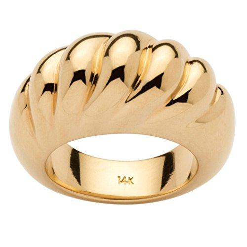 14k Yellow Gold Nano Diamond Resin Filled Shrimp-Style Dome Ring by Seta Jewelry