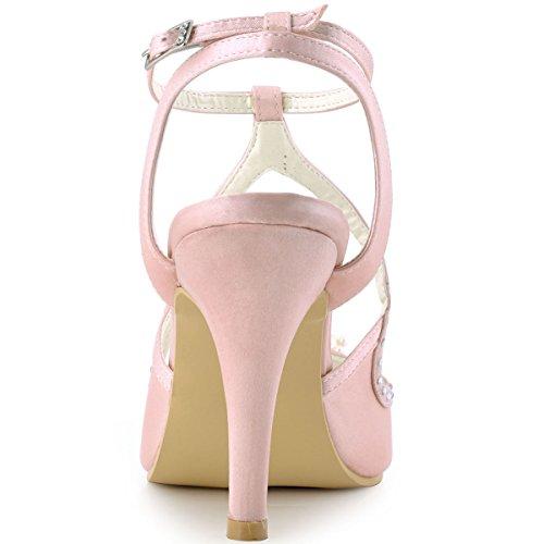Sandales De Pumps Ep11058 Femme Ouvert Aiguille Satin Talon Bout Rose Chaussures Mariage Elegantpark Strass Perle vwxZU7q8q