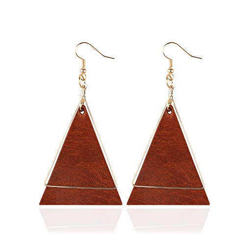 - Genuine Leather Statement Earrings Triangle Geometric Leather Dangle Drop Geometric Lightweight for Women Girls (Brown)