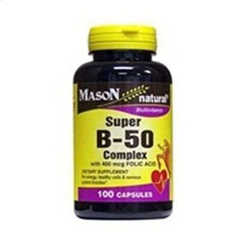 Vitamin E 400 50 Capsules - Mason Vitamins Mason Natural Super B-50 complex with 400 mcg folic acid capsules - 100 ea by Mason Vitamins