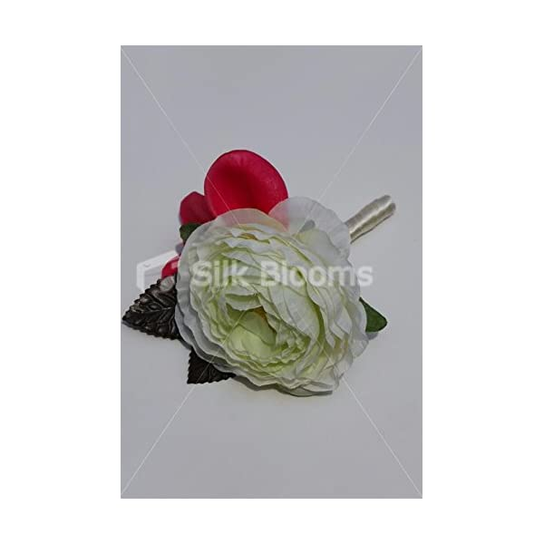 Ivory & Green Ranunculus Wedding Buttonhole w/ Pink Frangipani