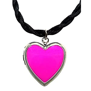 Bijoux De Ja Rhodium Plated Color Enamel Heart Locket Pendant Cord Necklace 18 Inches. (Fuchsia)