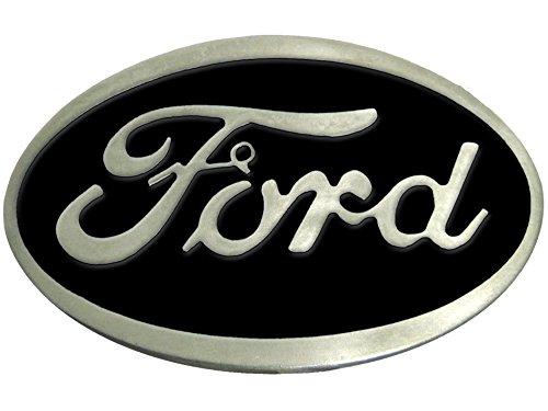 Ford Belt Buckle , Black Enamel Fill Pewter Finish - Ford Pewter Belt Buckle