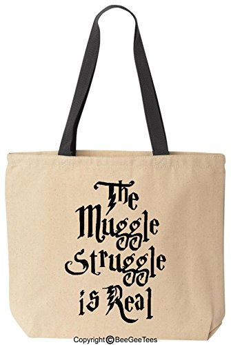 The Muggle Struggle Is Real Funny Harry Potter Reusable Canvas Tote Bag by BeeGeeTees (Black Handle)