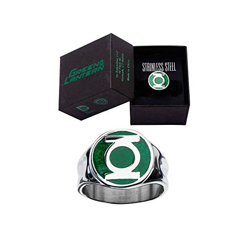 Men's Stainless Steel DC Comics Green Lantern Ring with a Classic Green Enamel Inlay (12) -