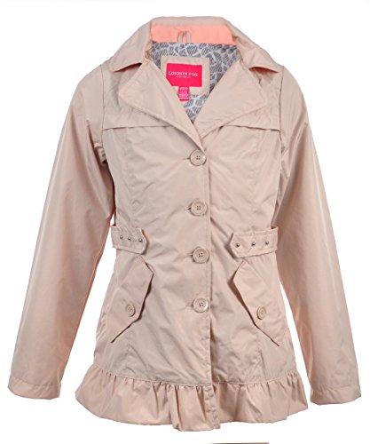 London Fog Big Girls' Hooded Raincoat - Khaki, 7-8
