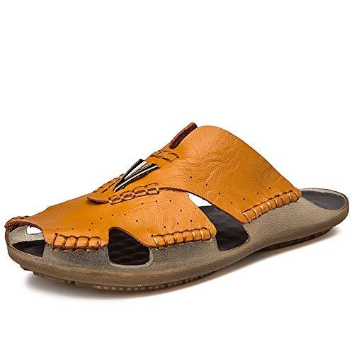 jauneish marron 42 EU Chaussures JUJIANFU-mode pour Hommes Britannique Loisirs Mode Pantoufles pour Hommes en Microfibre en Cuir D'été Chaussures De Plage Alliage Anti-Slip Plat étanche à Séchage Rapide Troll Toe