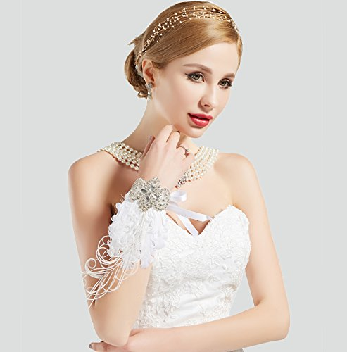 BABEYOND 1920s Wedding Wrist Corsage Gatsby Peacock Feather Bridal Wristband Corsage Roaring 20s Flapper Wedding Costume Accessories (White by BABEYOND (Image #4)