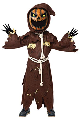 Scary Scarecrow Pumpkin Bobble Head Costume w/Pumpkin Halloween Mask for Kids Role-Playing (Large(10-12yr)) Brown