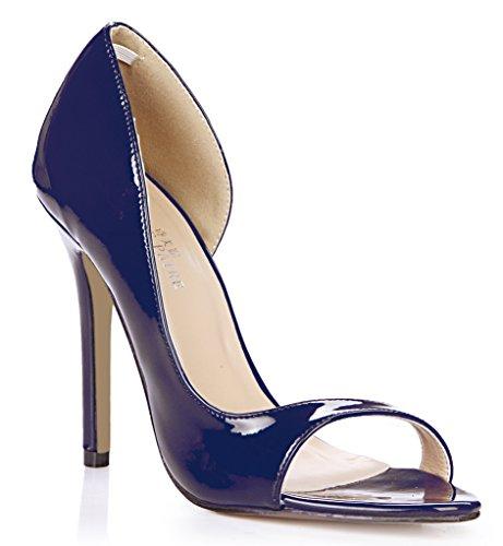 Les femmes célibataires nouvelle session annuelle de l'chaussures à haut talon des boîtes de grande perle rouge poisson vide côté astuce chaussures femmes Dark Blue pearl MrCFkoiKI5