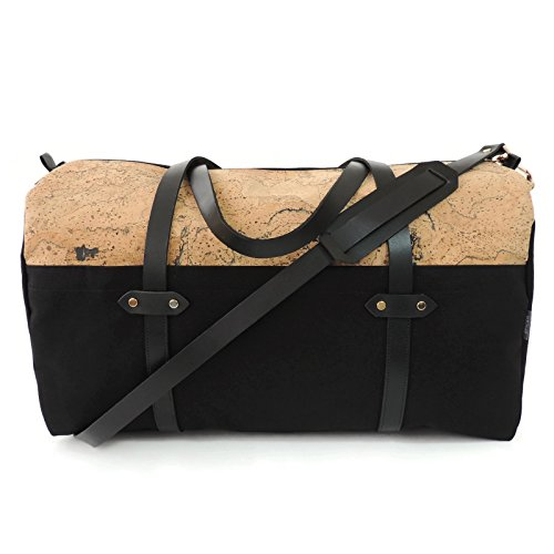 Marble Cork and Black Canvas Duffle Bag Weekender by Spicer Bags by SPICER BAGS