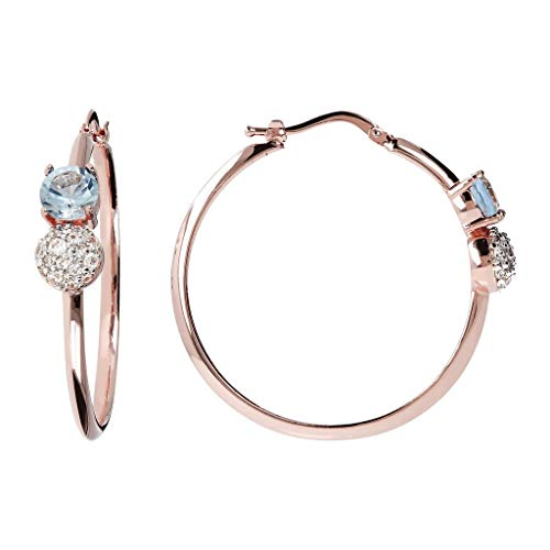 Shiny Round Hoop CZ Gemstonr Earrings 18K Rose Gold Plated For Women, Made in Italy, Gift Box Included