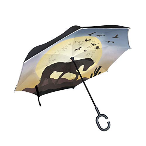 (senya Reverse Inverted Windproof Umbrella Horse and The Moon Upside Down Umbrellas with C-Shaped Handle for Women and Men,Double Layer Inside Out Folding Umbrella)