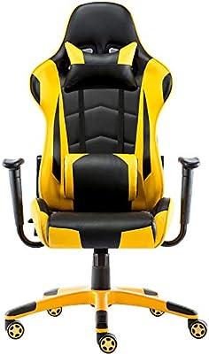 HTOLLA E-Sports Gaming Chair PU de Cuero Silla giratoria de Oficina con Almohada para la Cabeza Ajustable