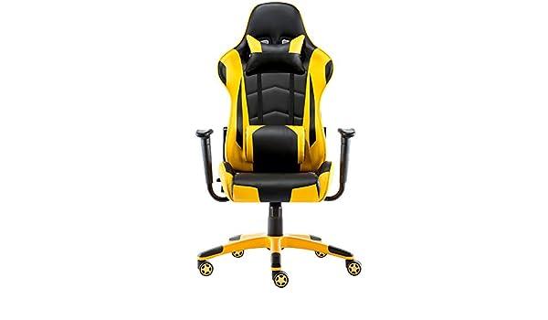 HTOLLA E-Sports Gaming Chair PU de Cuero Silla giratoria de Oficina con Almohada para la Cabeza Ajustable: Amazon.es: Hogar