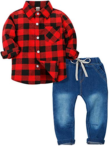 ZOEREA Toddlers Baby Boys Kids Formal Outfit Suit Set, Plaids Shirt + Suspender Pants + Bow Ties (0-7 Years) (Red 3, Label 100/Age 2-3 Years)