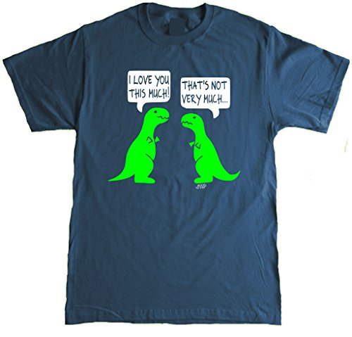 I Love You This Much Funny T-rex Adult T-Shirt - X-Large - Navy