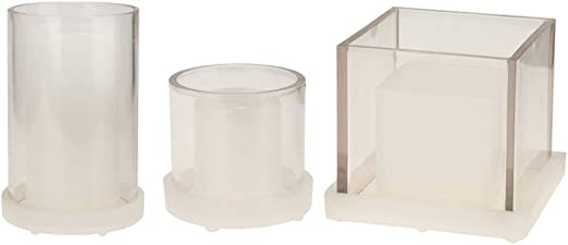 2 Pack Hollow Square Cube and Cylinder Candle Mold Candle Making Moulds for DIY Scented Candles Dried Flower Candles Tealight Candle Holders