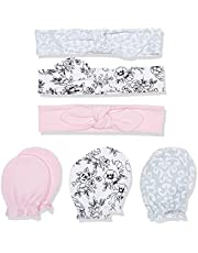 Hudson Baby Girls' Cotton Headband and Scratch Mitten Set