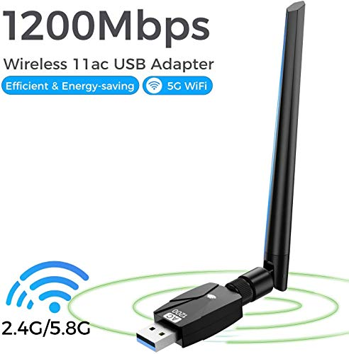 scole WiFi Adapter for PC 1200Mbps,802.11ac USB Wireless Network Adapter with Dual Band 2.4GHz/5.8GHz 5dBi High Gain Antenna for Desktop Compatible with Windows 10/8.1/8/7/Vista/Mac OS (Balck)