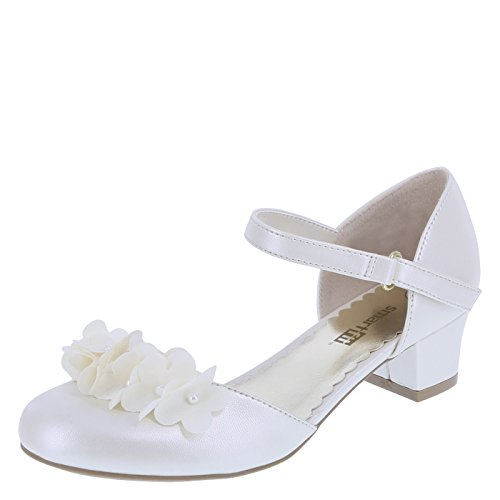 SmartFit Pearlized Ivory Girls' Cici Flower Heel 3 -