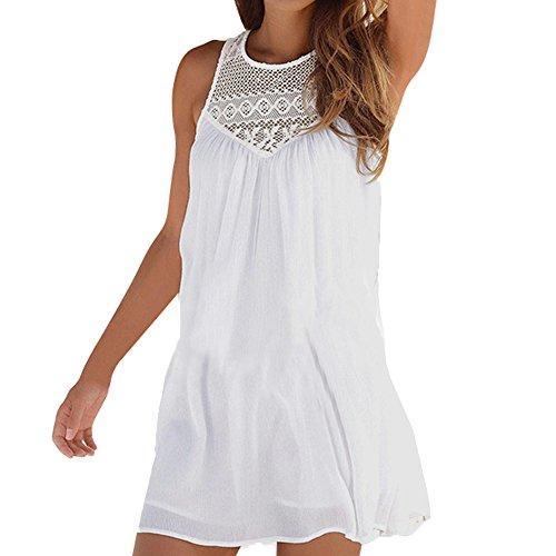 Women's Casual Beach Summer Dresses Solid Cotton Flattering A-Line Spaghetti Strap Button Down Midi Sundress White