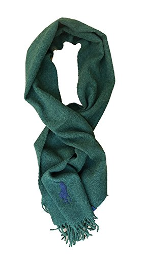 Men's LambsWool Solid Color (GREEN) Scarf by Polo Ralph Lauren, Made In (Big Pony Lambswool)