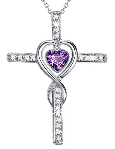 ilver Cross Infinity Love Hearts Jewelry Gifts for Women Purple Amethyst Pendants Necklace Anniversary Birthday Gifts for Her Wife Girlfriend Fiancee Grandma Swarovski 20