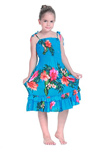 Girl Elastic Ruffle Hawaiian Luau Dress in Turquoise 8