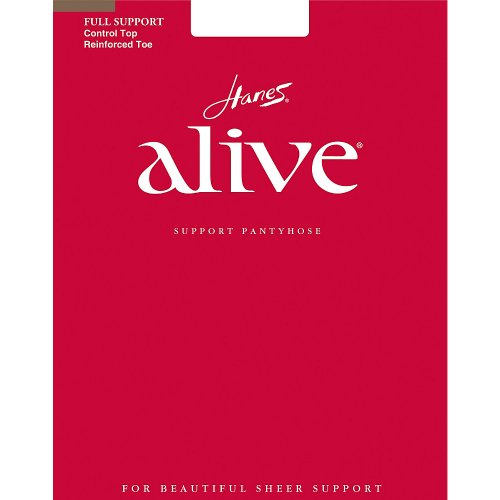 Hanes Alive Womens Nylon Full Support Reinforced Toe Sheer Pantyhose (Pack of 3), E, Barely There (Support Hosiery Womens)