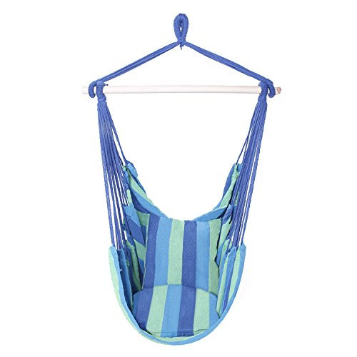 (OnCloud Hanging Hammock Chair Porch Swing (Blue) )