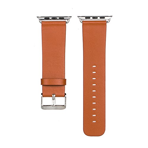 Generic 38mm Top-grain Leather Strap with Stainless Metal Clasp Apple Watch Band for All Apple Watch Sports, Orange