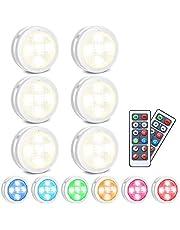 LED kastverlichting, SOLMORE RGB LED nachtlamp met afstandsbediening, kastverlichting 10 dimniveaus, 4 timingfunctie, batterijvoeding voor interieurdecoratie kledingkastverlichting Kerst, 6 pack