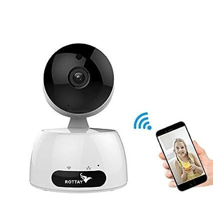 Cámara IP wifi,Cámara de Vigilancia Rottay HD Zoom 720P IR Visión Nocturna con Micrófono