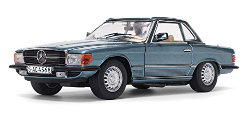 (1977 Mercedes Benz 350 SL Hardtop Coupe Metallic Blue Gray European Collectibles 1/18 Diecast Model Car by SunStar 4666)