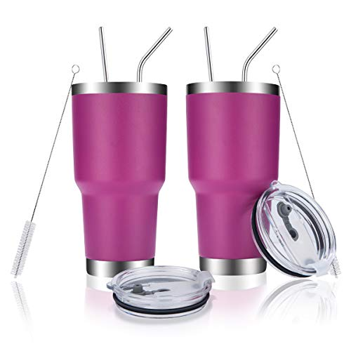 DYNAMIC SE 30oz Tumbler Double Wall Stainless Steel Vacuum Insulated Travel Mug with Splash-Proof Lid Metal Straw and Brush (30oz SET OF 2, Fuchsia)