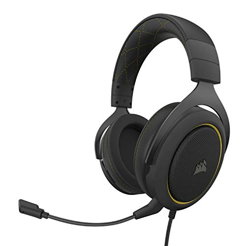 Corsair HS60 Pro - 7.1 Virtual Surround Sound PC Gaming Headset w/USB DAC - Discord Certified Headphones - Compatible with Xbox One, PS4, and Nintendo Switch - Yellow