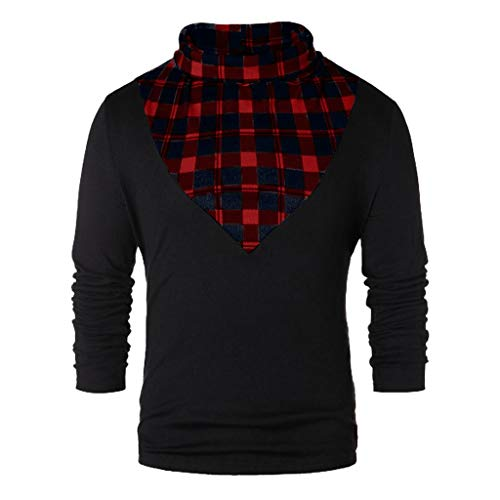 WUAI Mens Plaid Shirts Turtleneck Long Sleeve Patchwork Casual Loose Pullover T-shirts Tops Blouse(Red,US Size L = Tag XL)