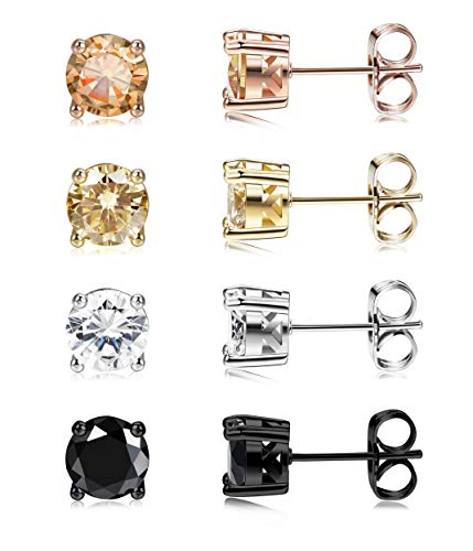 - Jstyle 4 Pairs 20G Round Stud Earrings for Women Mens Brilliant Cut Round CZ Stud Ear Piercing Earring Studs Set With Gift Box