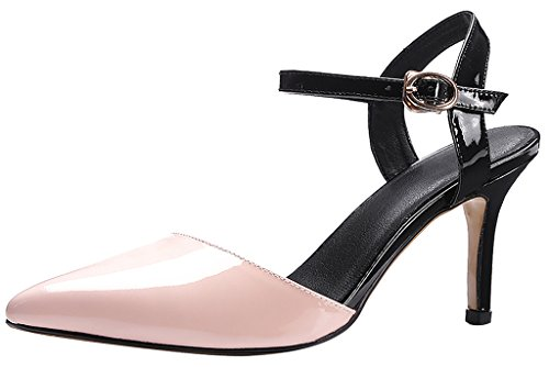Calaier Mujer Caparagliding Tacón De Aguja 8CM Sintético Hebilla Sandalias de vestir Zapatos Rosa