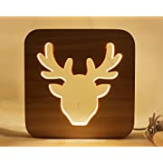 Led Baby Child Nursery Night Light Bedside Home Decor Lamp, Decor Night Lights for Kids and Adults, Lamps for Bedroom Living Room 3D Shadow Lamp-Deer