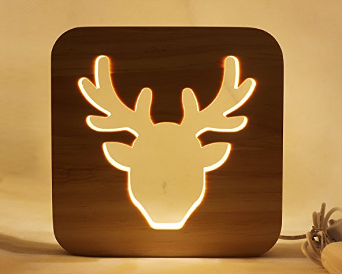 Led Baby Child Nursery Night Light Bedside Home Decor Lamp, Decor Night Lights for Kids and Adults, Lamps for Bedroom Living Room 3D Shadow Lamp-Deer from enhong