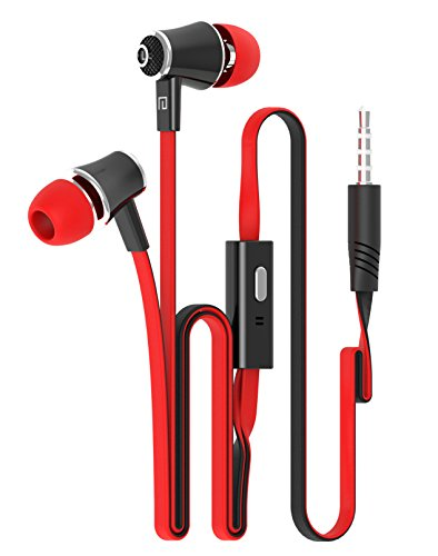New Fashion Candy Color Original Earphones with Microphone Super Bass Noodle Line Earbuds Headphones Headset For iphone 6 6s Xiaomi Smartphone (Red)